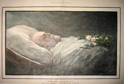 President James A Garfield after his death. Garfield was a Civil War General and the twentieth President of the United States.