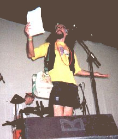 Bard of Ely on stage at Glastonbury Festival 2002