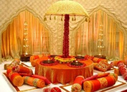 An usual setting for a typical Rajasthani wedding