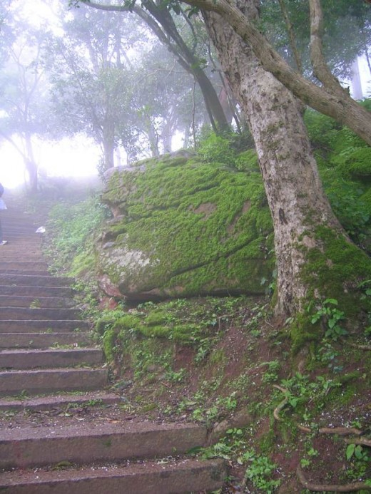 Stairs leading to the top of Nandi