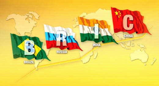 Colorful Global Map of BRIC - Brazil Russia India China Showcasing the National Flags of Each Country