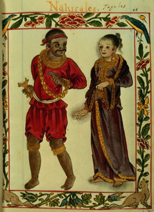 A portrayal from Boxer Codex, c.1595 AD. of a Tagalog couple from the Maginoo nobility at the time of the Spanish arrival.