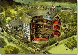 A color drawing of the type of theater house Shakespeare's plays were written to be performed in.