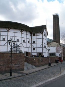 "A modern photograph of ""The Globe"" as it stands today in its restored state."
