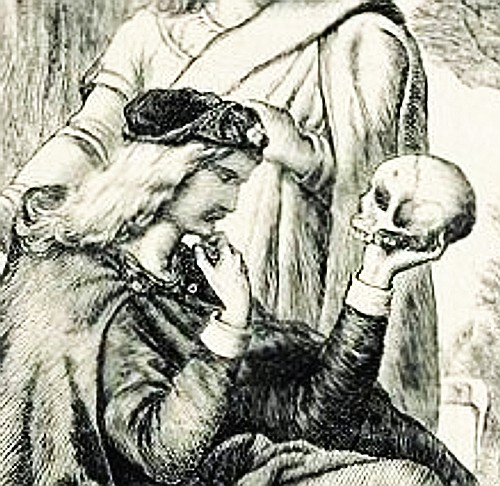 A famous scene where Hamlet considers death and Yorick, a court jester he once knew that was so full of life.