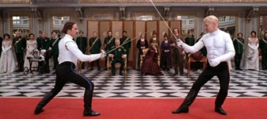 The climactic duel in Act V as depicted in the 1996 Branagh directed version of the play.