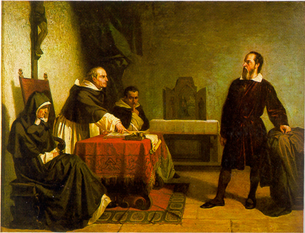 Cristiano Banti's 1857 painting Galileo facing the Roman Inquisition. Image Wikipedia