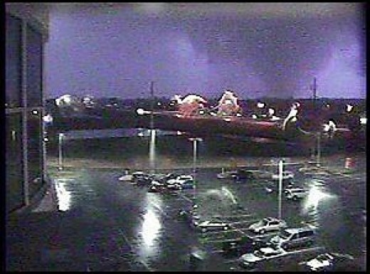 The deadly Evansville, IN area tornado of November 6, 2005 taken by a webcam at Deaconess Womens Hospital