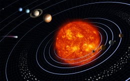 Drawing (not to scale) of the Solar System. Image from Wikipedia