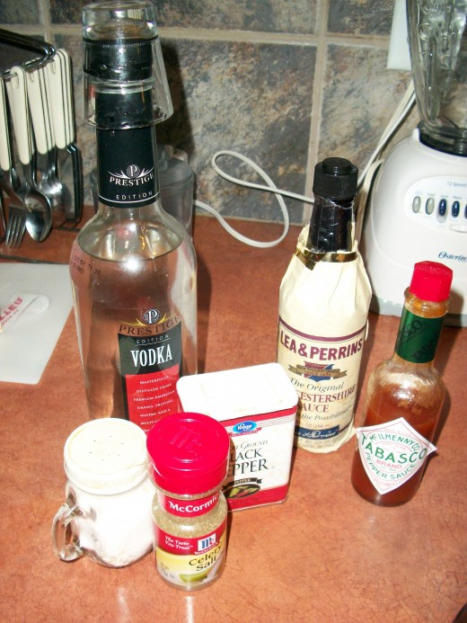 Vodka, Worchestershire, tobasco, salt, pepper, celery salt and celery stalk and Clamato (not shown)