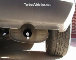 "A ""TurboWhistler"" installed in a muffler"