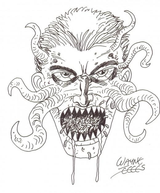 Drawing horror art.