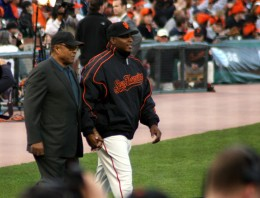 Celebrating Willie Mays' 75th birthday on the field...here he is walking out to his huge cake with Barry Bonds