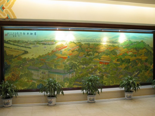 a painting of the Forbidden City, as seen in the Jade Garden Hotel, Beijing