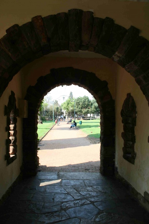 Looking back at the main gate from inside the pavilion