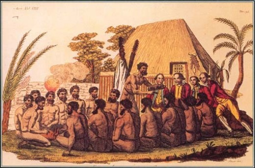 This painting depicts the natives as they were before European and Asian influences changed everything forever.