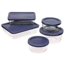 Pyrex 6021224 Storage 10-Piece Set, Clear with Blue Lids
