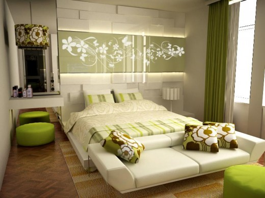 Stylish bedroom furniture with green effect