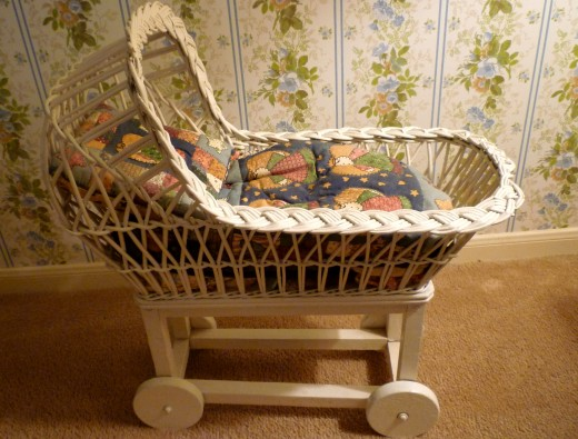 Old wicker carriage that has been in the family for generations.