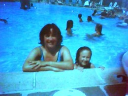 Mommy & daughter go for a swim.