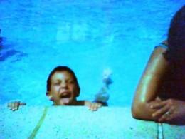Little Dana learns to swim.