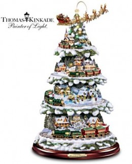 First Kinkade Tabletop Tree With Lights, Moving Train, Music