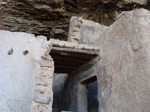 Notice wood structure at the top of the doorway.