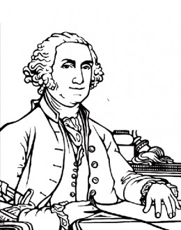 President George Washington - 1st President of the United States of America - Founding Fathers coloring pages for kids