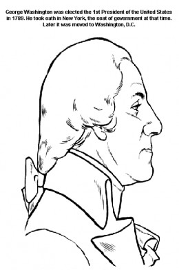 President George Washington - 1st President of the United States of America - Founding Fathers coloring pages for kids - Profile Image