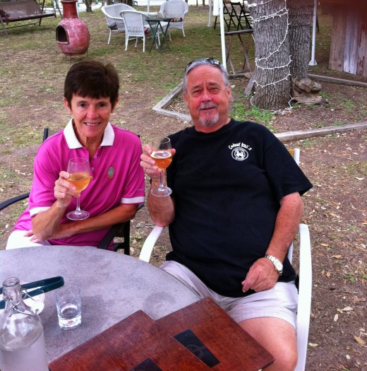 Just had to add this shot of us laid back with our second glass of Wine at this marvelous Country Wine Bistro