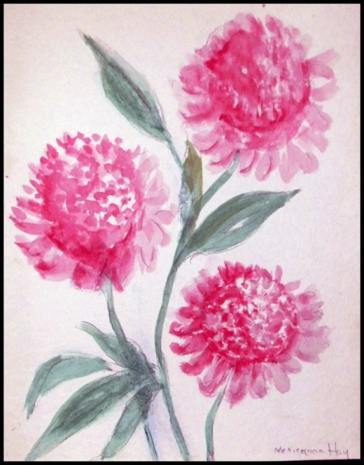 """Peonies"" - watercolor & pencil    ___ ©Nellieanna Hay"