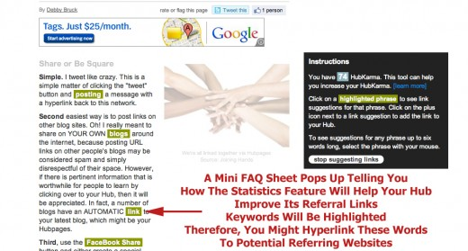Take a look at your highlighted text to learn the best words to hyperlink to your Hubpages