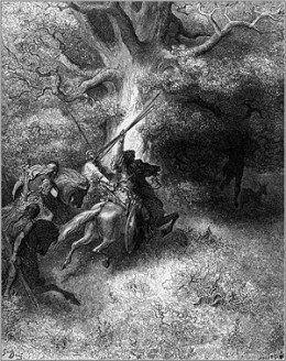 In the Biblical story of Absalom, he rebels against his father, King David, and dies by getting hung in a tree that catches his long hair as he rides under it (pictured above).