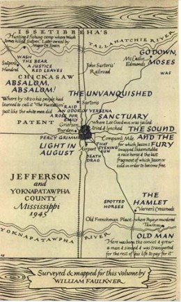 Faulkner created a map of the world his stories took place in.  Yoknapatawpha County was originally made up of four or five big plantations before the Civil War.  Most of the Northwest part of the county was occupied by Sutpen's Hundred.