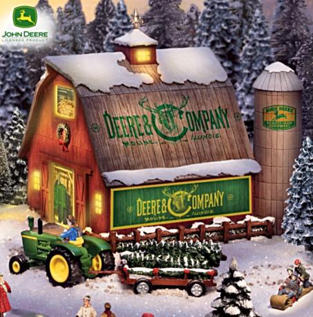 Thomas Kinkade & John Deere Illuminated Christmas Village