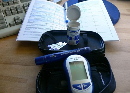 Diabetes kit for testing blood sugar.