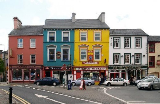 Charming pastel-colored buildings decorate the small village of Skibbereen.