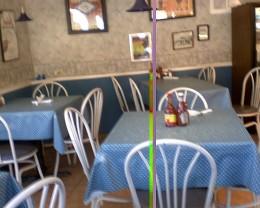 Inside dinning. Weird line through photo...