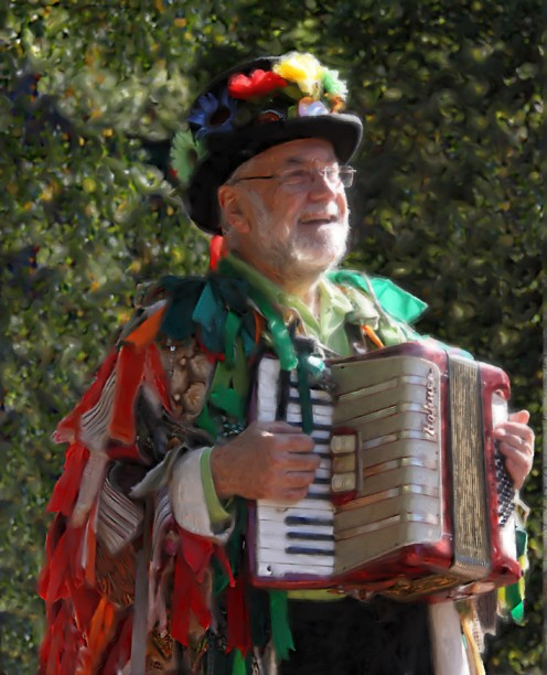 "Vincent ""Itchy"" Leeds plays the accordion for us all."