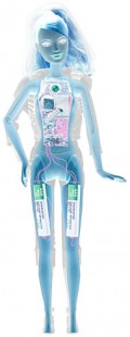 An x-ray shows the internal workings of the Barbie Video Girl Doll.