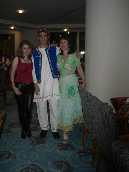 Left to Right, Me, Mohammed (the waiter) and my sister Hayley in The Palm Court Restaurant on Egyptian Night.