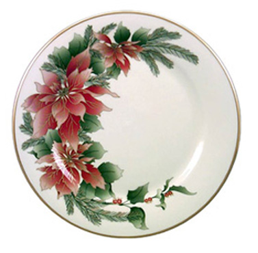 Gold Poinsettia Plate from pickardchina.com