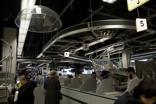 Inside the guts of B&H..Check out that conveyor belt system. It runs through the entire inside of the store!