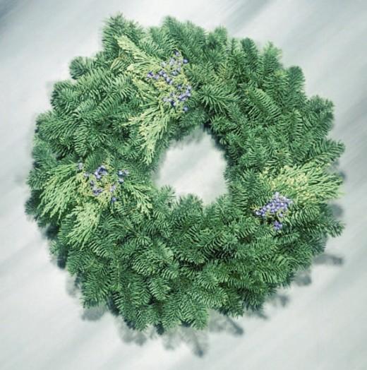 Mixed evergreens wreath from pacificcoastevergreens.com