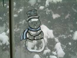 Snowman made from a Kit  which was very easy to do.  Just had to foil and solder  the glass together.