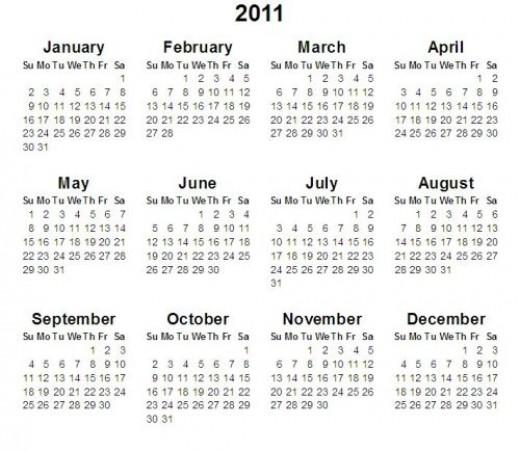 2011 Holidays Calendar