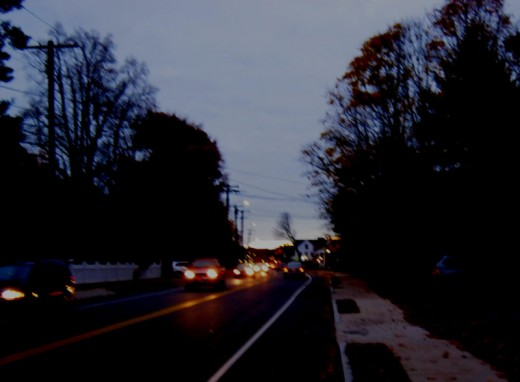 Entering Needham Center at dawn.