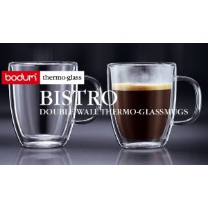Bodum Bistro Double-Wall Insulated 10-Ounce Glass Mug, Set of 2