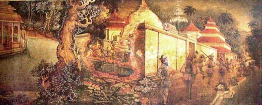 One of the numerous wall paintings at Kelaniya Buddhist Temple: The destruction of Kelaniya Royal Temple, Sri Lanka Holidays by the Portuguese in the 16th century.