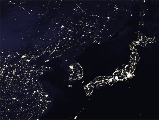 Northeast Asia at night. The difference between South Korea and North Korea.